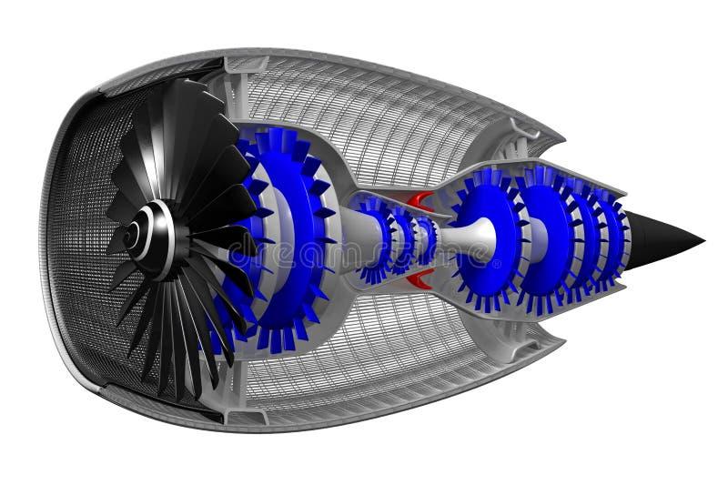 3D motor a reacción - vista lateral stock de ilustración