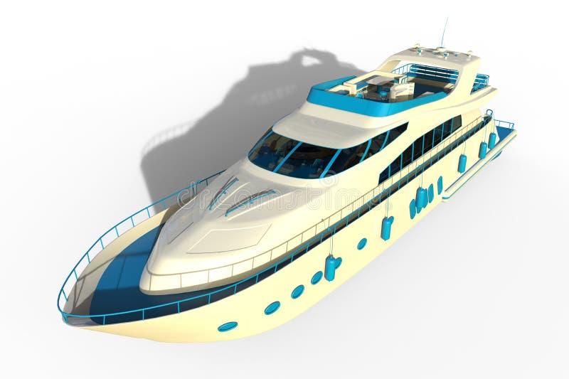3D Motorjacht met schaduwen royalty-vrije illustratie