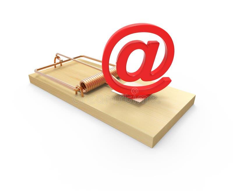 3d Mousetrap with email address symbol bait. 3d render of a mousetrap with an email address symbol as bait stock illustration