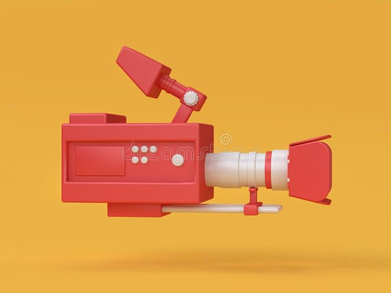 3d movie-cinema camera cartoon style 3d rendering vector illustration