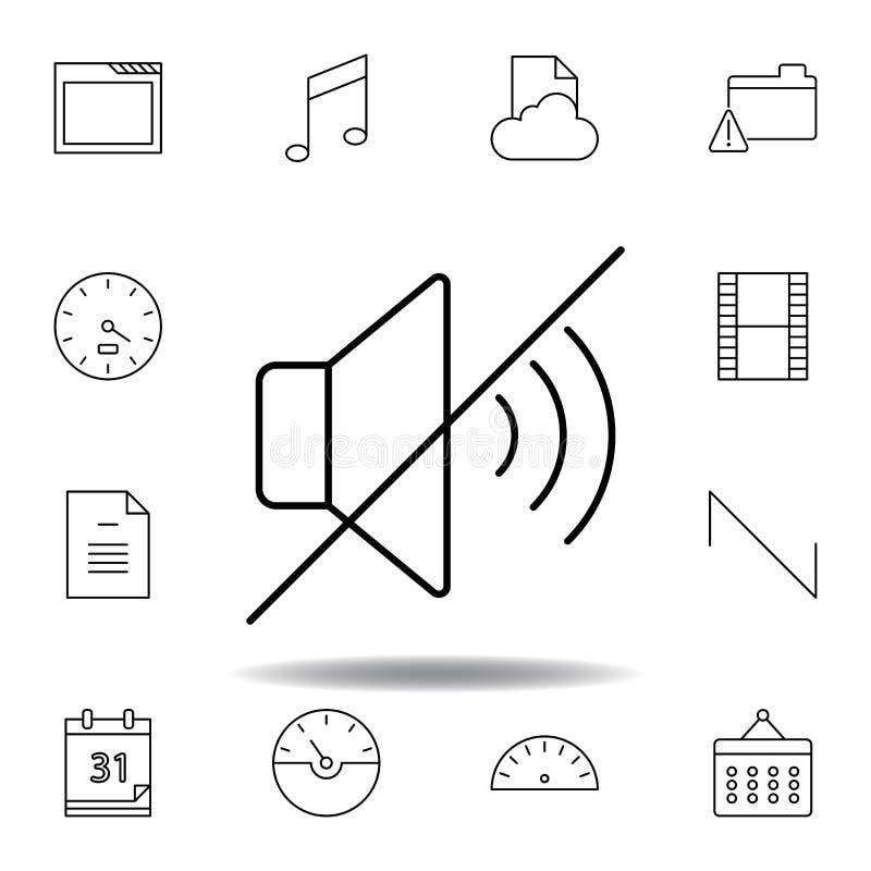 D?mpa ingen solid ?versiktssymbol Detaljerad uppsättning av symboler för unigridmultimediaillustrationer Kan anv?ndas f?r reng?ri stock illustrationer