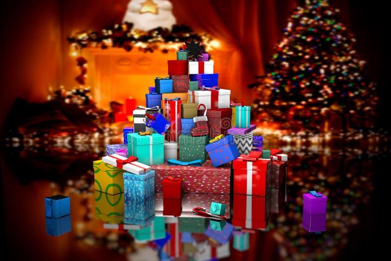 3D muitos presentes do Natal perto da árvore de Natal ilustração royalty free