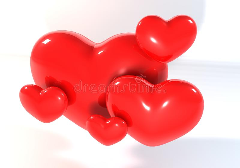 3d multi Red Heart royalty free stock image