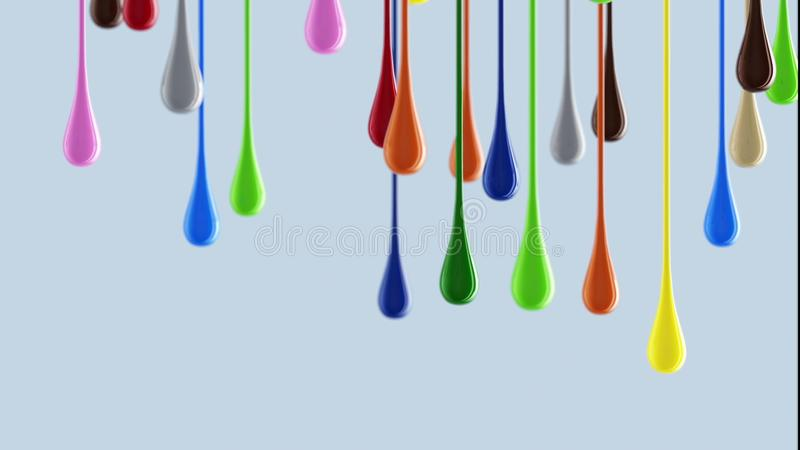 3D multicolor colorful glossy paint blobs dripping down. 3D multicolor colorful glossy paint blobs dripping . 3d stock image