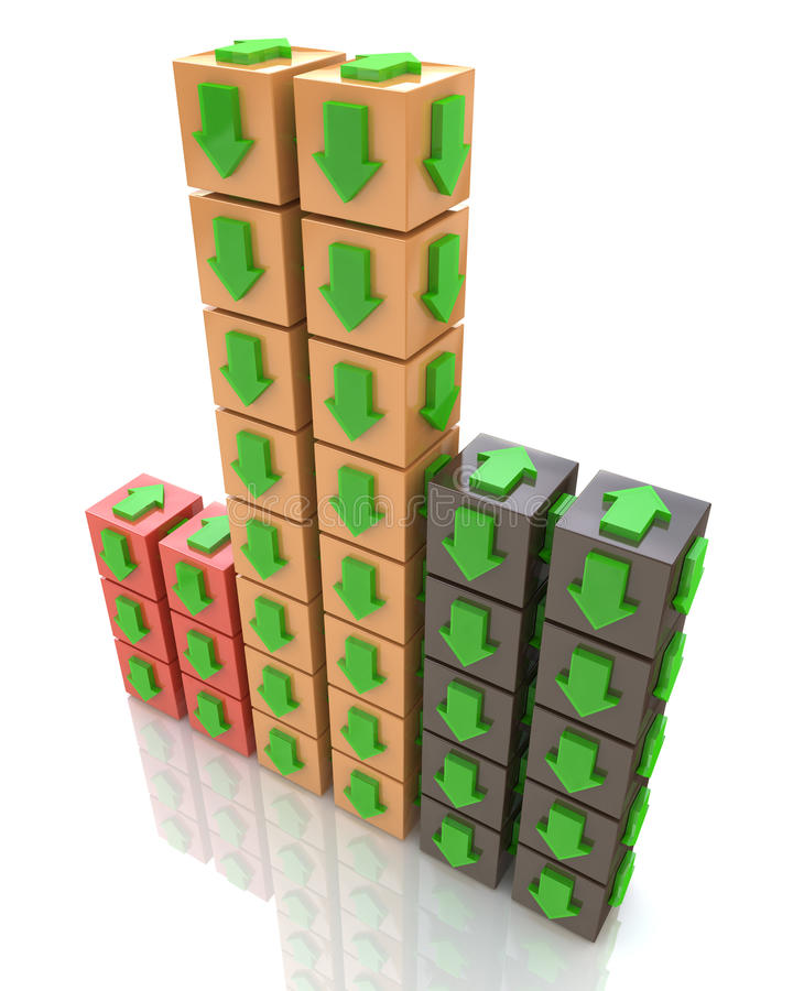 3D multicolored cube with an arrow pointing the direction royalty free illustration