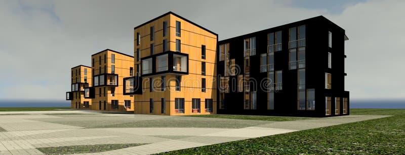 3D multy层房子模型 皇族释放例证