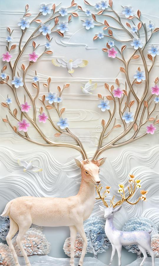 3d mural Flowers background with Deer and circle wallpaper for walls . with golden tree flowers and Jewelery  background . vector illustration