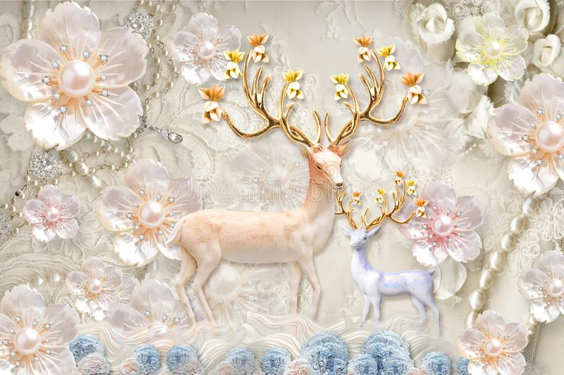 3d mural Flowers background with Deer and circle wallpaper for walls . with golden tree flowers and Jewelery  background . stock illustration