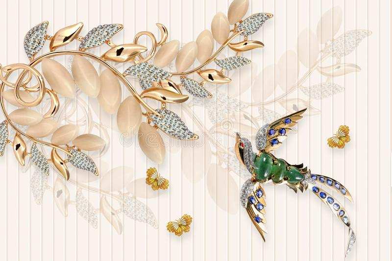 3d mural illustration background with golden jewelry and flowers , circles simple decorative wood wallpaper . peacock , horse , bu royalty free illustration