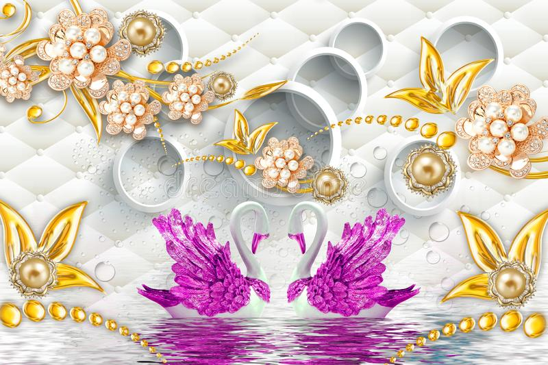 3d mural illustration Golden swan on water with decorative floral background Jewelery, 3d ball. It gives a beautiful shape while hanging on the wall royalty free illustration