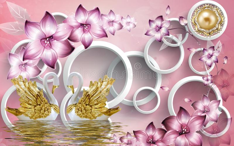 3d mural illustration Golden swan on water with decorative floral background Jewelery, 3d ball royalty free illustration