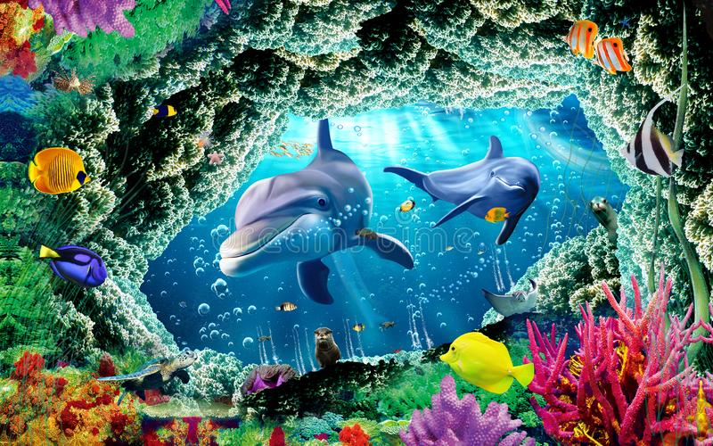 3d mural illustration wallpaper under sea dolphin, Fish, Tortoise, Coral reefsand water with broken wall bricks background royalty free illustration