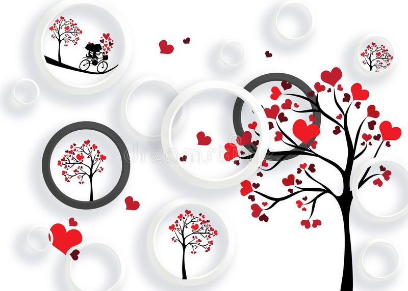 3d mural valentine love white background with circles and hearts tree stock illustration