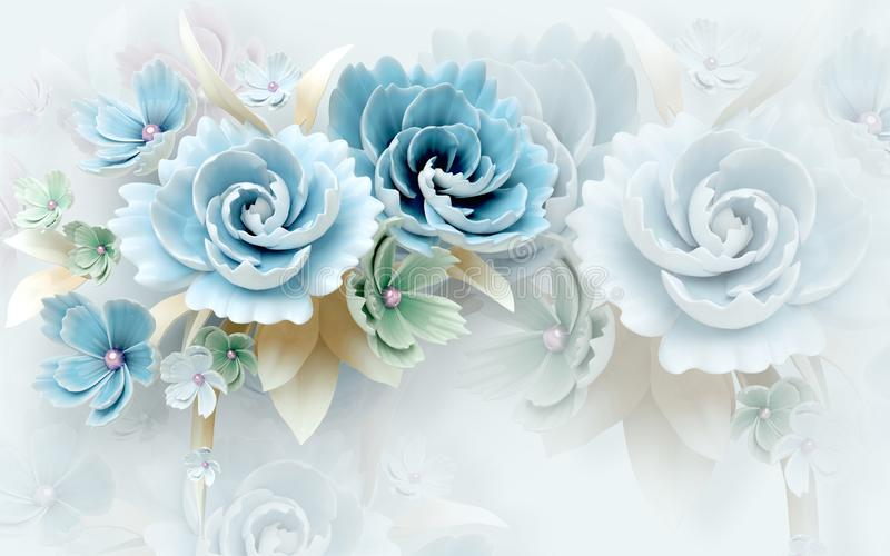 3d mural wallpaper abstract background with white and blue flowers royalty free stock photography
