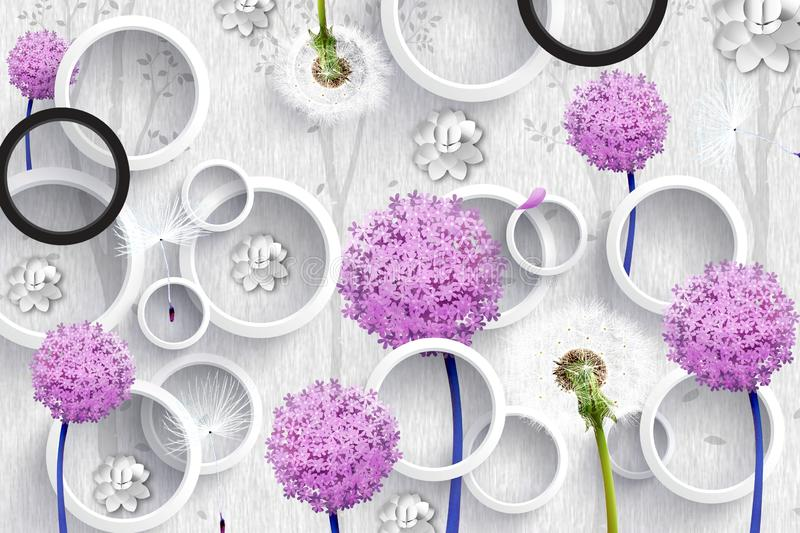 3d mural wallpaper abstract with gray and black circles and purple pink flowers . silhouettes of dandelions pattern on decorative. 3d mural wallpaper abstract royalty free stock photos