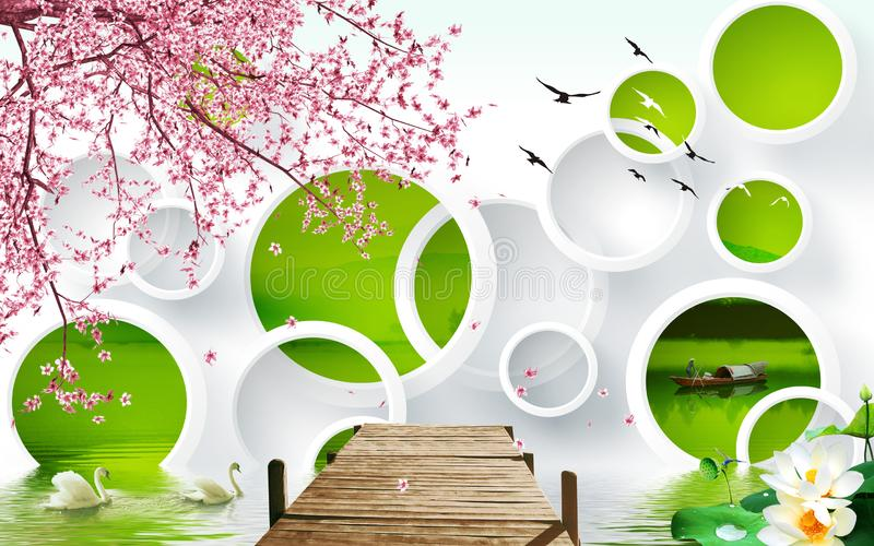 3d mural wallpaper abstract  with tree flowers green, white circle Swan wooden Gangway stock illustration