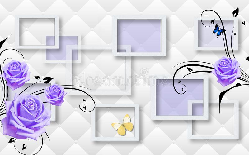 3d mural wallpaper with gray background and flower , squares and butterfly vector illustration