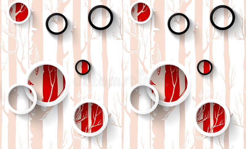 3d mural wallpaper illustration, white, green, purple, red rings with color circles, painted trees in the background royalty free illustration