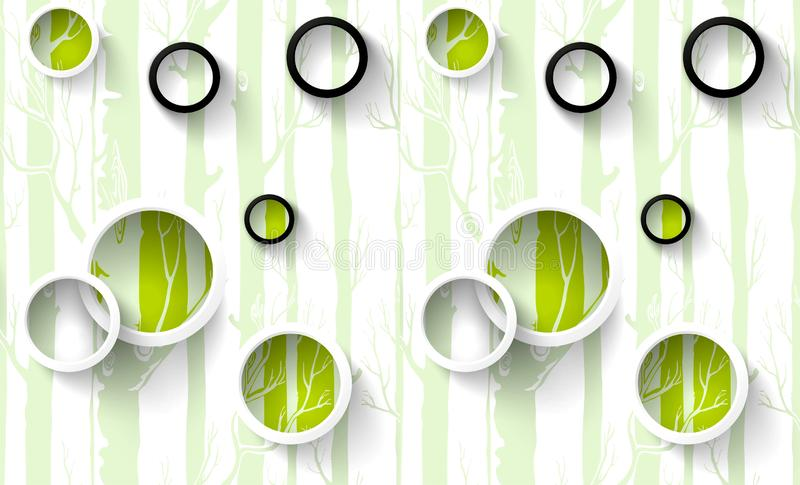 3d mural wallpaper illustration, white, green, purple, red rings with color circles, painted trees in the background stock illustration