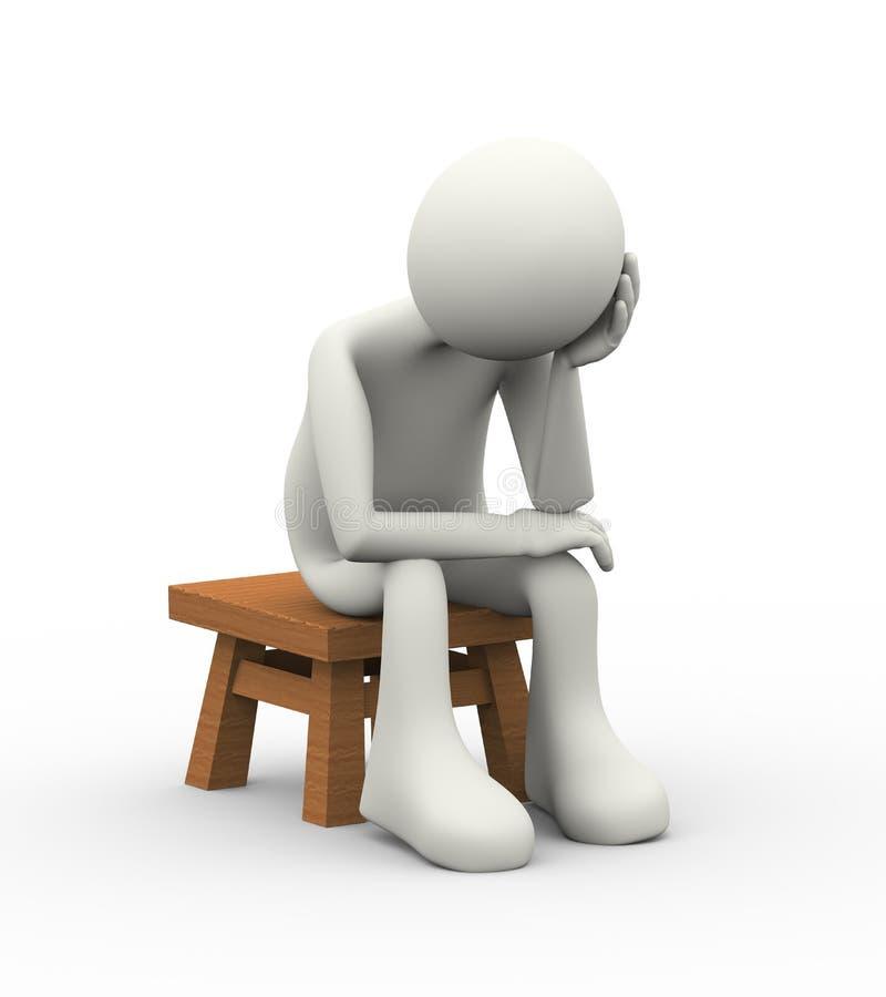 3d myśliciela mężczyzna nieszczęśliwy obsiadanie na stolec royalty ilustracja
