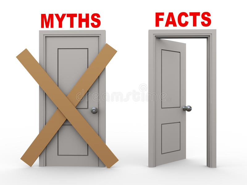 Download 3d myth and fact doors stock illustration. Image of message - 31928298