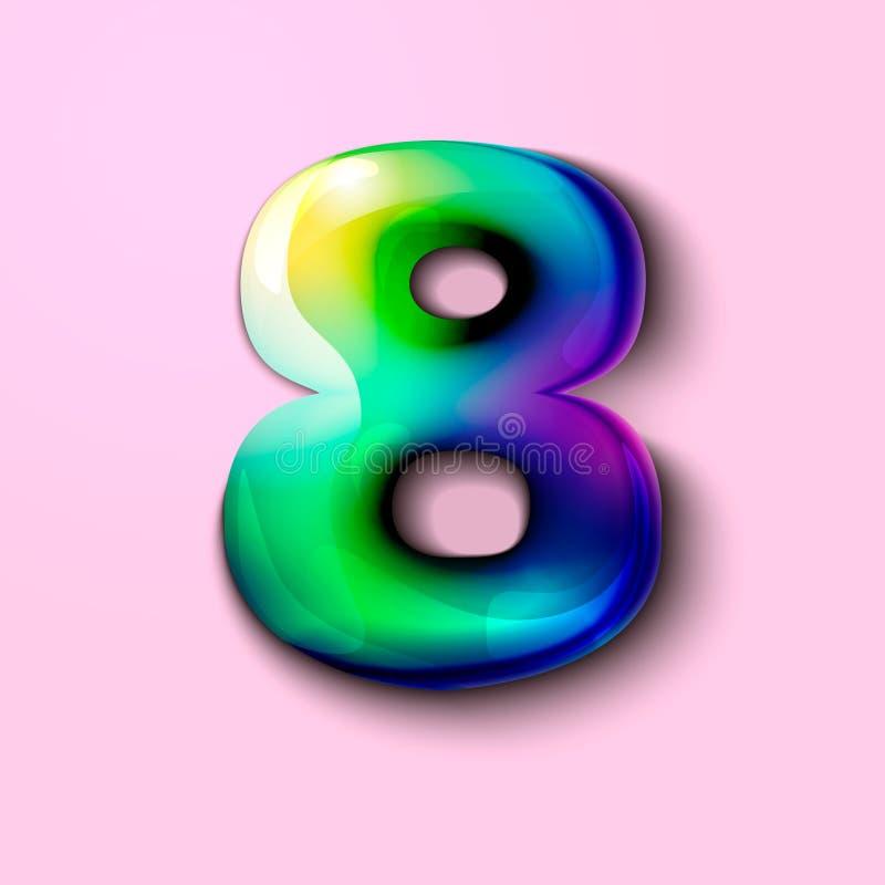 3d número holográfico moderno oito número 3d gelatinoso doces 3d ilustração do vetor