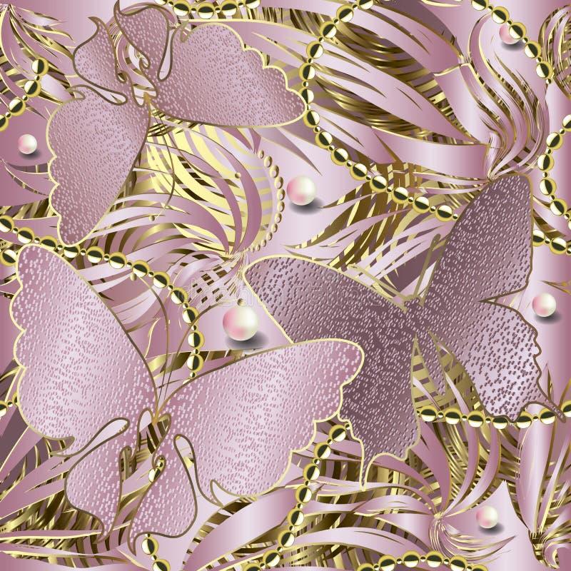 3d naadloze patroon van glitteryvlinders Abstracte geweven nam gouden achtergrond toe Herhaal gestreepte achtergrond Bloemen glan stock illustratie