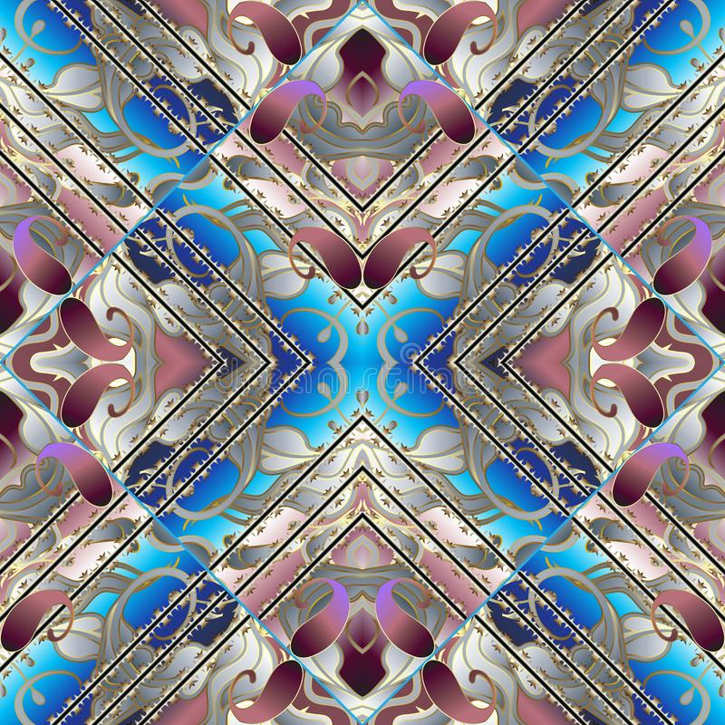 3d naadloze patroon van Paisley Vector bloemen abstracte achtergrond stock illustratie