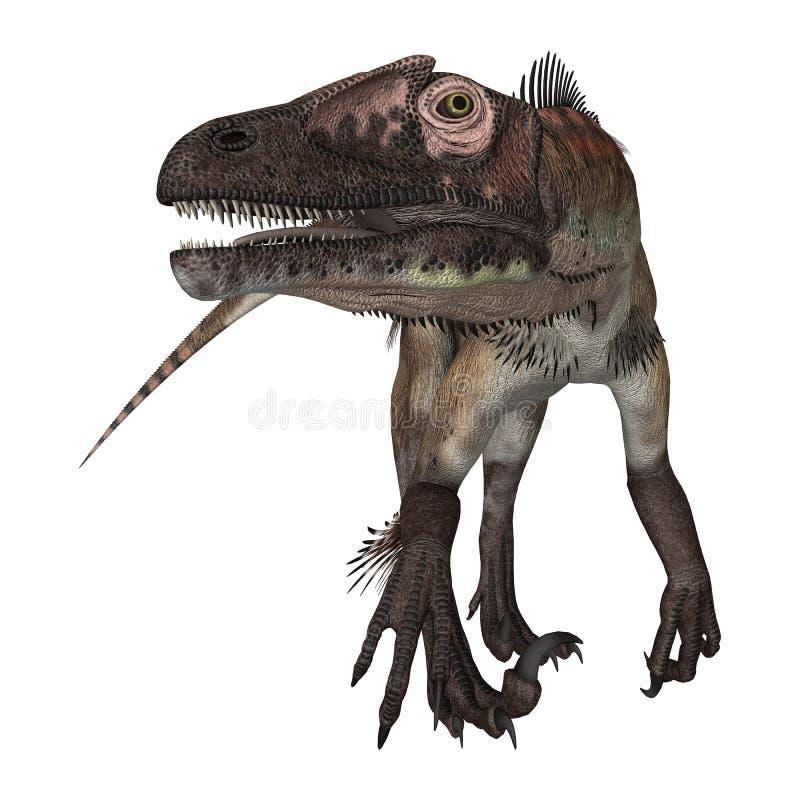 3d nad ścieżką ścinku dinosaur odpłaca się cienia utahraptor biel royalty ilustracja