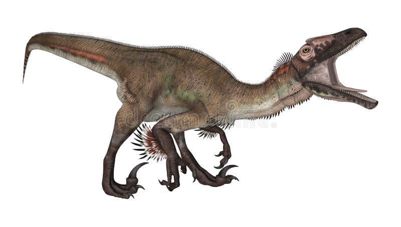 3d nad ścieżką ścinku dinosaur odpłaca się cienia utahraptor biel ilustracja wektor