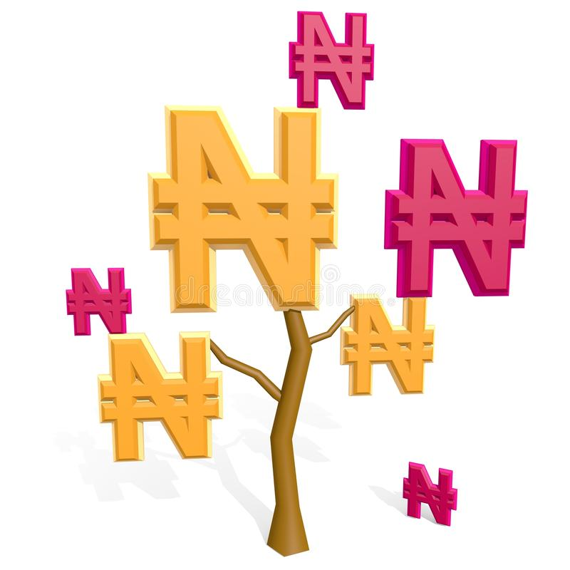 3d naira sign on a tree stock image