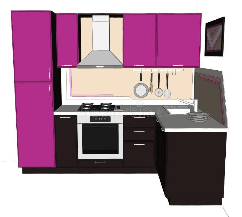 3D nakreślenia rysunek ładna purpur i brązu narożnikowa kuchnia z budujący w fridge ilustracja wektor