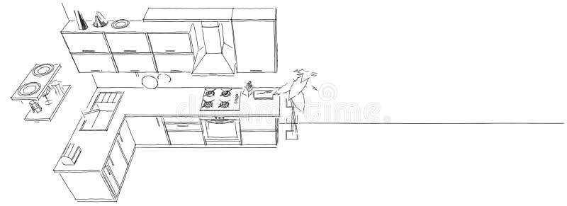 3d nakreślenia rysunek nowożytny kuchenny wnętrze na długiego tła odgórnym widoku ilustracji