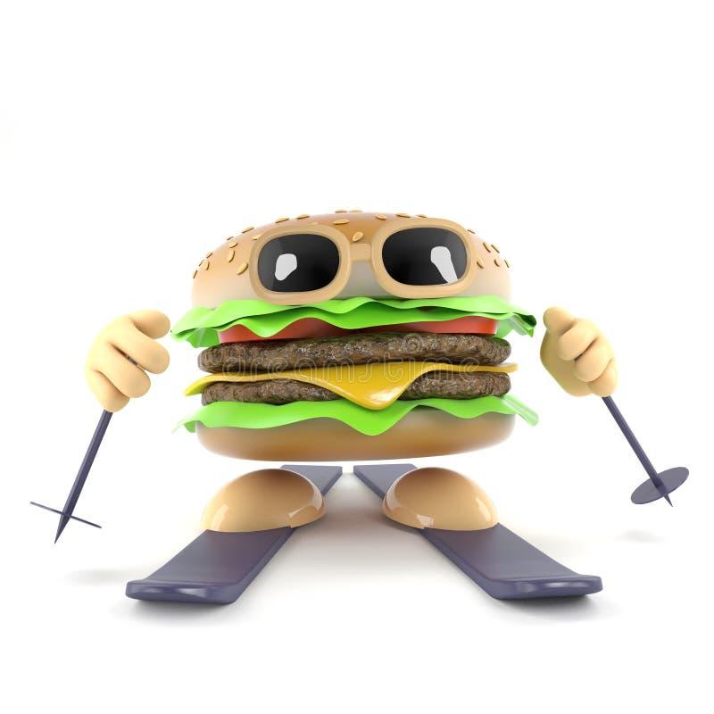 3d narciarstwa hamburger ilustracji