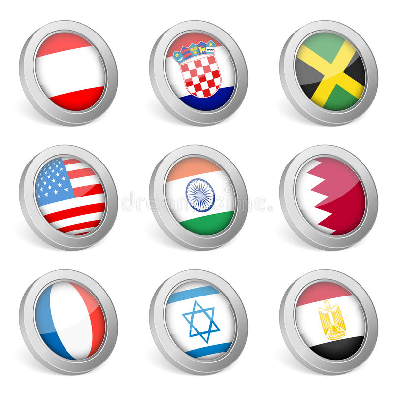 3D National Flag Icon Stock Photography