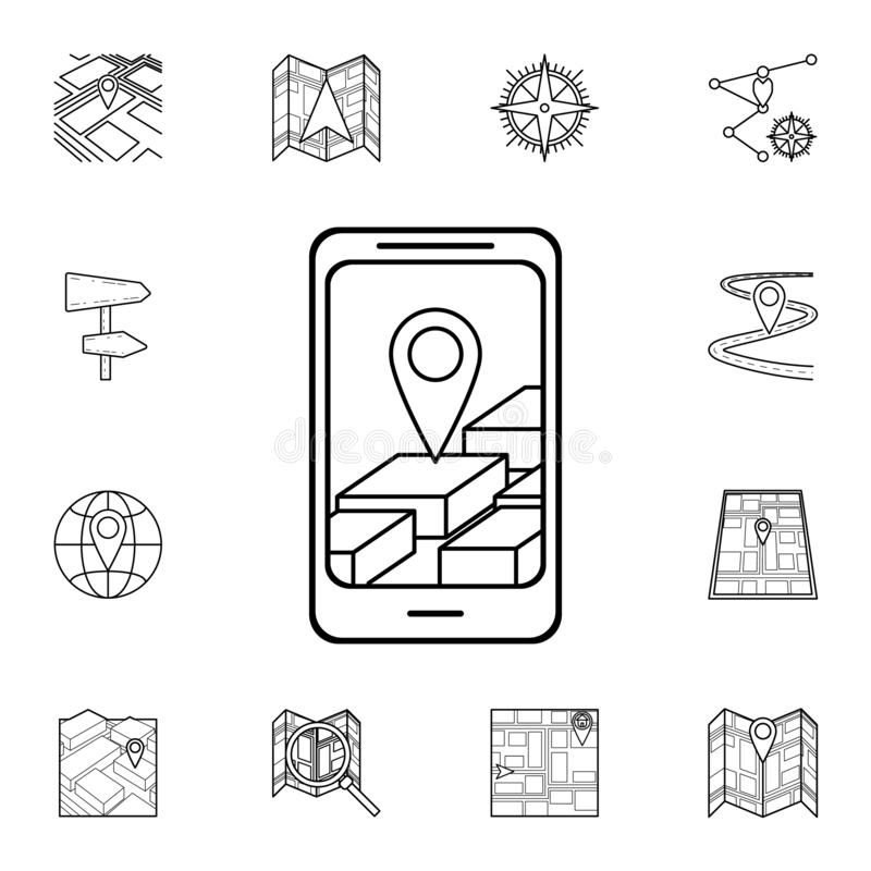 3d navigator in smart phone icon. Detailed set of navigation icons. Premium graphic design. One of the collection icons for vector illustration