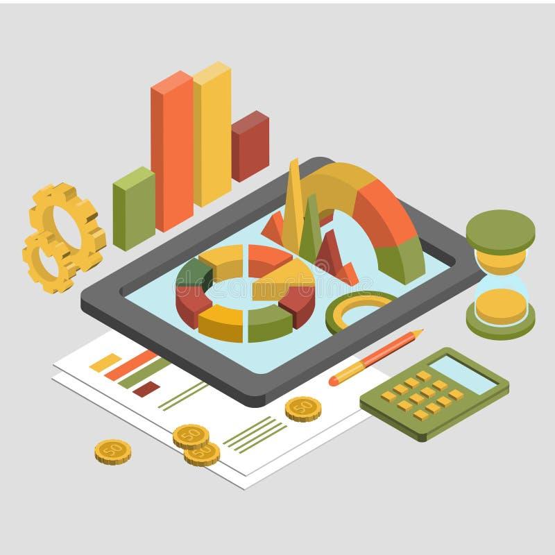 3d negocio isométrico plano, vector del gráfico de la carta stock de ilustración
