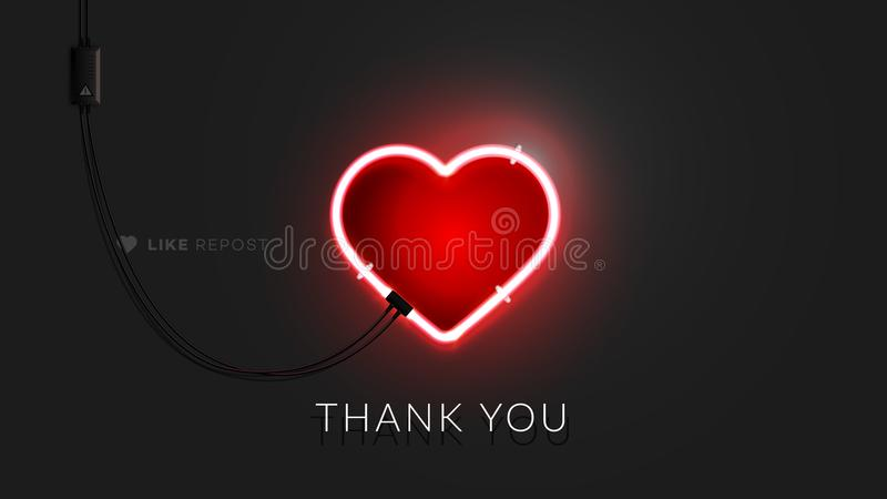 3d Neon Heart Sign. Realistic Vector Banner With Lighting Red Neon Tube On Black Background. Conceptual Vector vector illustration