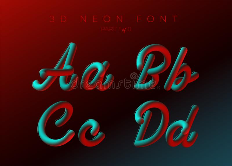 3D Neon Led Font. Liquid Matte Rounded Type. Neon Bubble Typeset. With Painted Letters. Tube Hand-Drawn Lettering. Typography for Music Poster, Sale Banner vector illustration