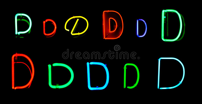 D Neon Letters stock illustration