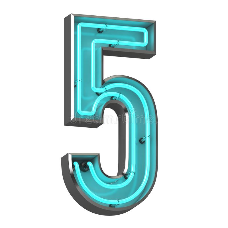 3d neon number five. 3d rendered image of number five made of neon tube in metal borders stock illustration