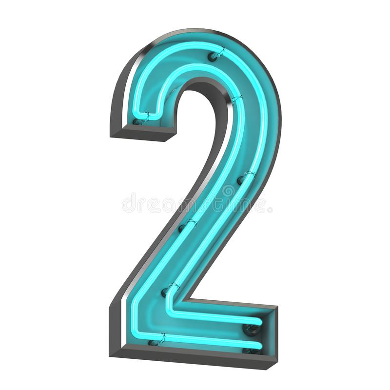 3d neon number two stock illustration