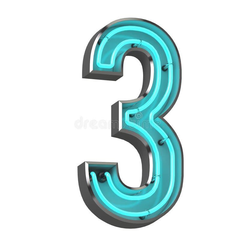 3d Neonzahl drei lizenzfreie abbildung