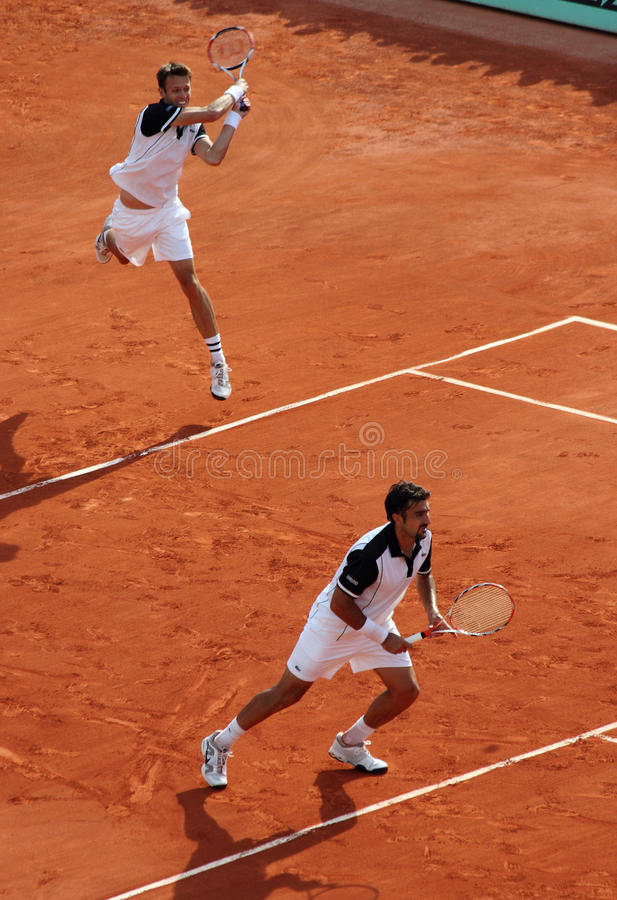 D. NESTOR / N. ZIMONJIC at Roland Garros 2010 stock photo