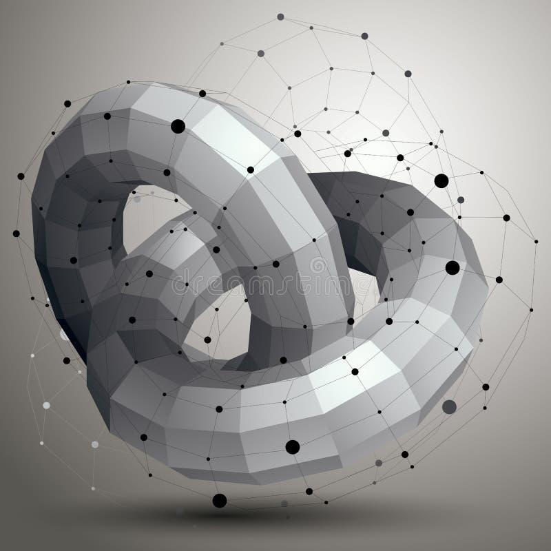 3D netwerk moderne modieuze abstracte bouw, origamifacet obje royalty-vrije illustratie