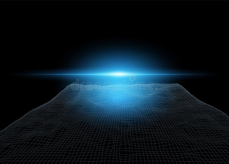 3D netwerkabstractie, cyber landschapsvisualisatie Het lichteffect is blauw moderne laptop die op witte achtergrond wordt ge?sole vector illustratie