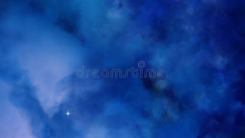 3D Nevel blauwe wolken in de diepe ruimte stock illustratie