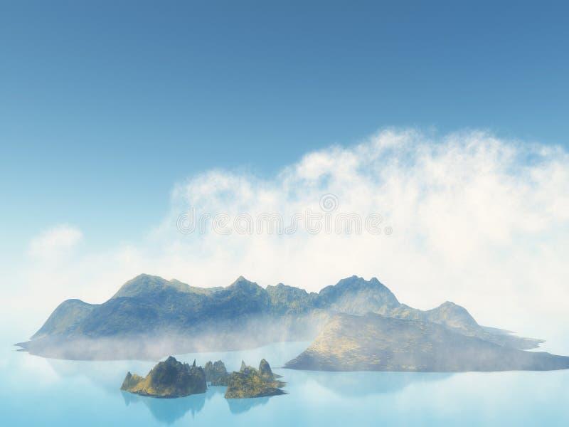 3D nevelig eiland in het overzees royalty-vrije illustratie