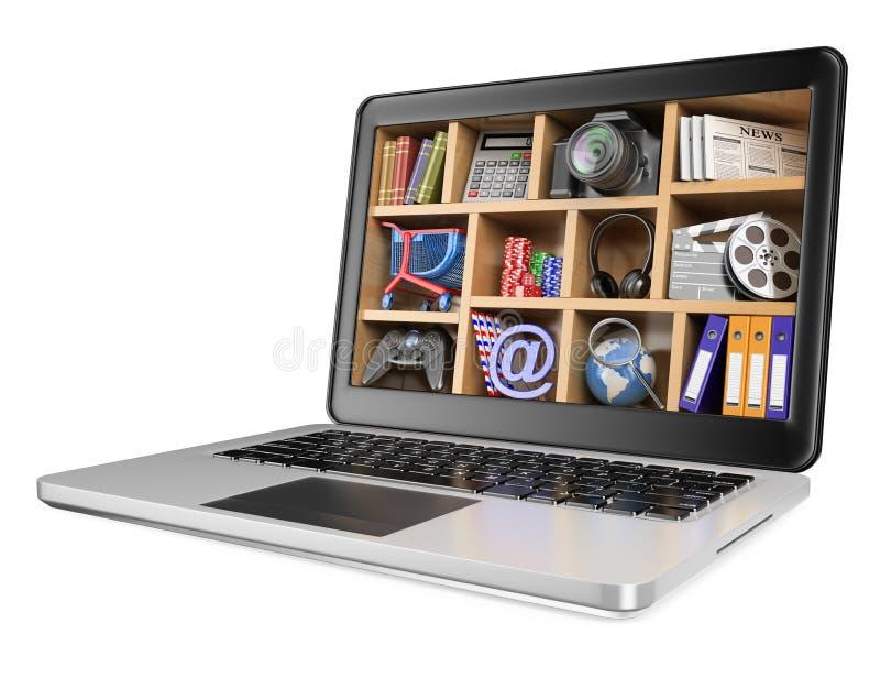 3D New technologies. Multimedia concept. 3d illustration. New technologies. Multimedia concept. Photo sales internet games. White background stock illustration