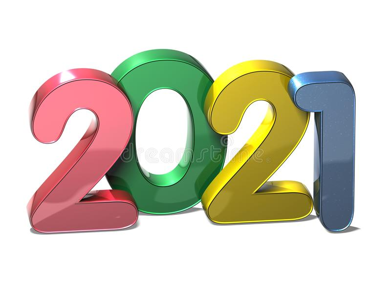 3D New Year 2021 On White Background Stock Illustration ...